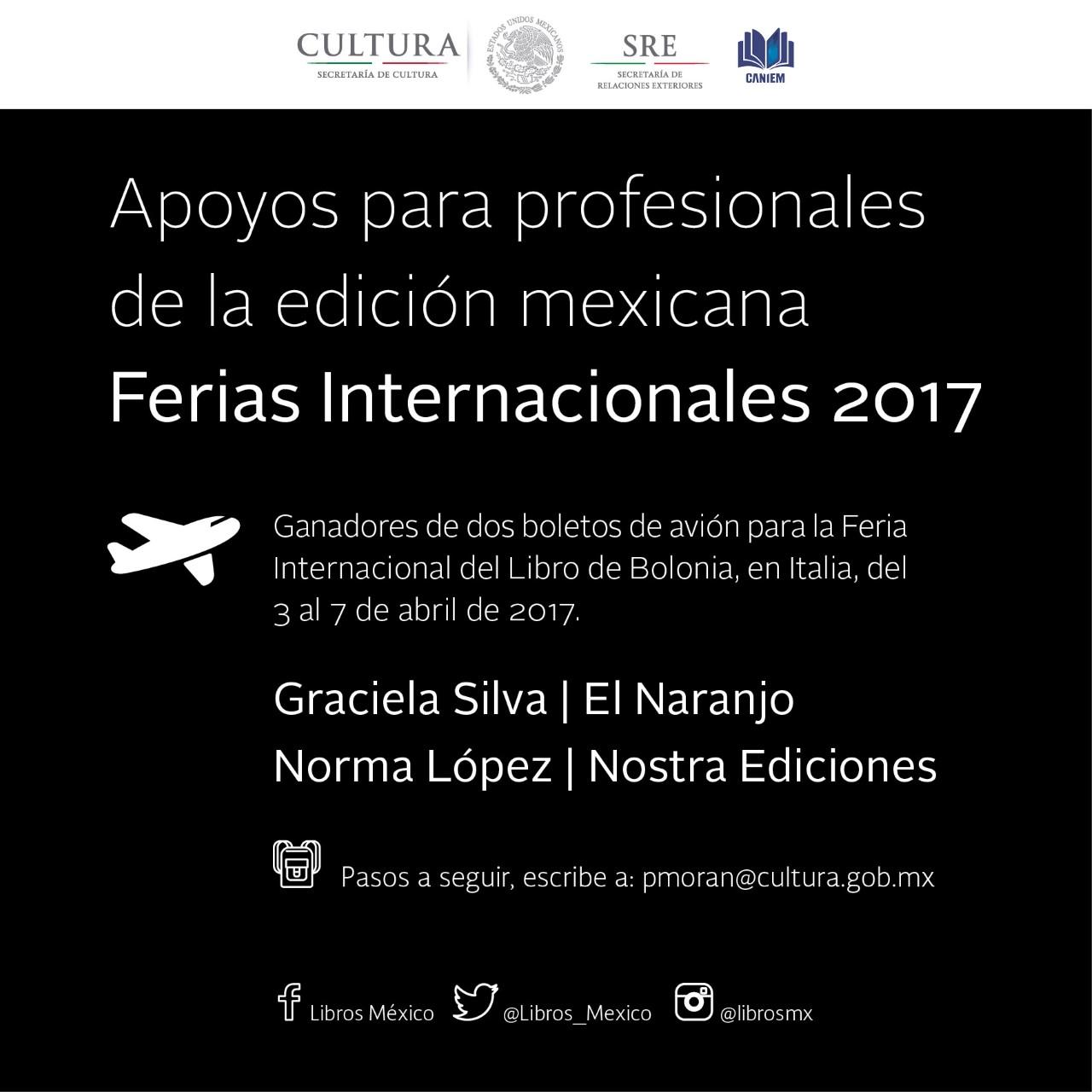 Resultados de la Convocatoria para la Feria Internacional del Libro de Bolonia